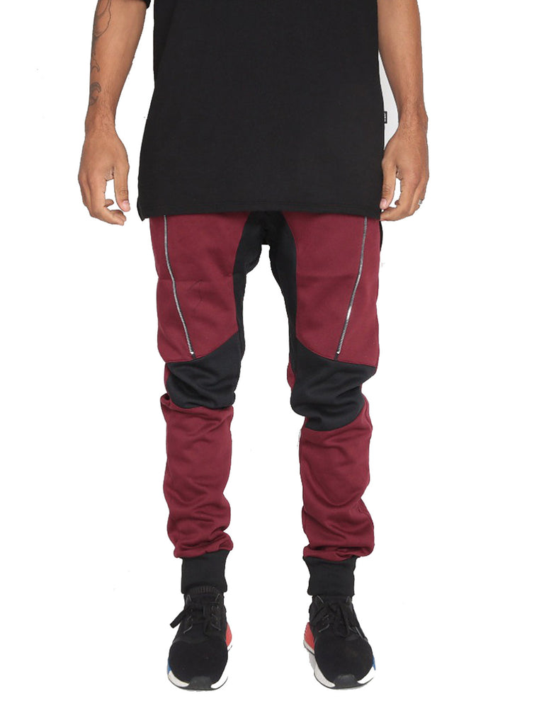 Weiv Los Angeles Front Zipper Jogger - Maroon