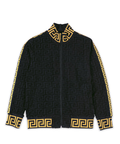 Reason Clothing Embossed Terry Jacket - Black