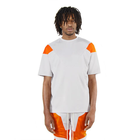 Eptm Engineered Color Block Tee - Silver/Orange