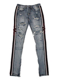 Vmade Industries Strap Destroyed Jeans - Blue