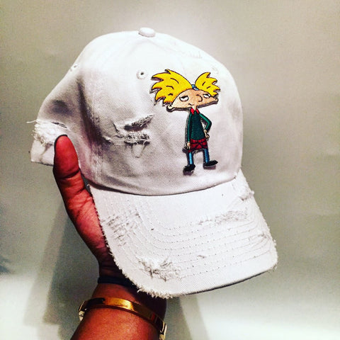 By Lee Apparel Hey Arnold Patch Distressed Dad Hat - White