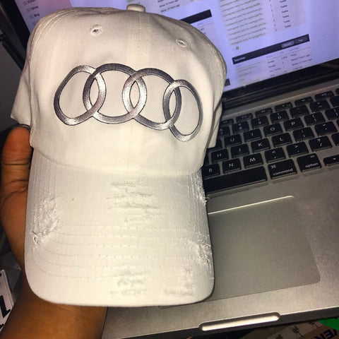 By Lee Apparel Audi Distressed Dad Hat - White