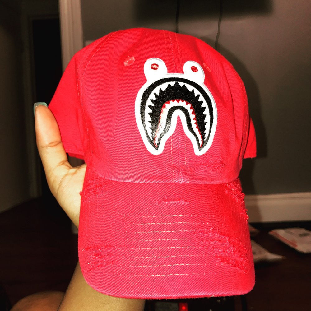 By Lee Apparel Custom Shark Distressed Dad Hat - Red