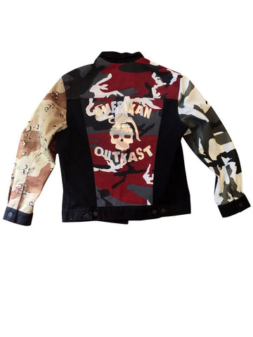 Amerikan Outkast Rage Camo Denim Jacket - Black