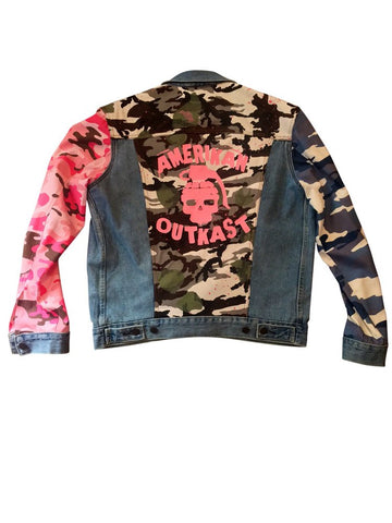 Amerikan Outkast Rage Camo Denim Jacket - Pink Splash