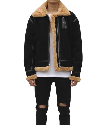 Urkoolwear Sherling Jacket - Black/Tan