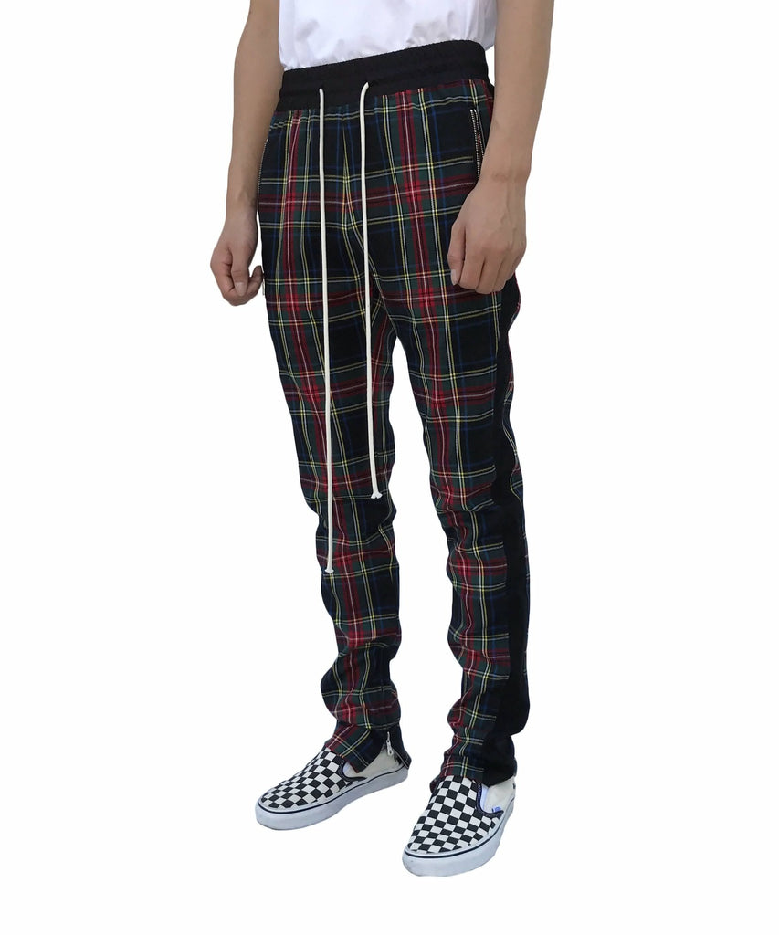 Urkoolwear Plaid Zip Track Pant - Black