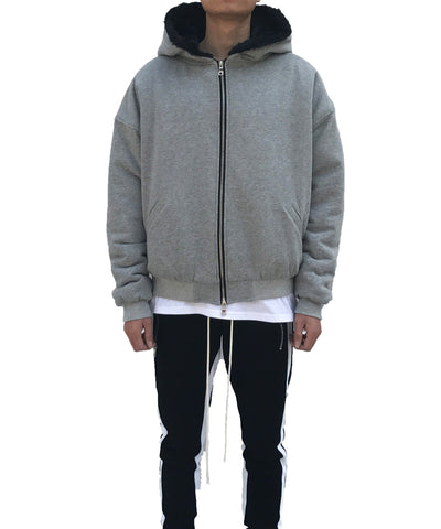 Urkoolwear Heavy Terry Faux Rabbit Hoodie - Grey