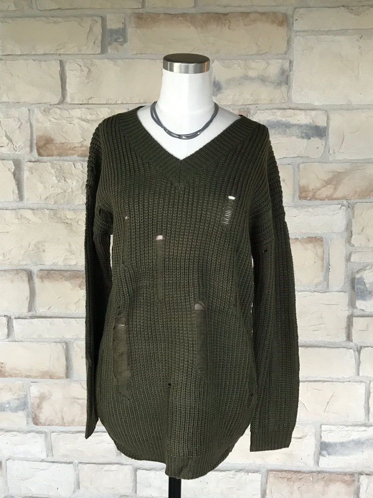 Destroyed Cable Knit Sweater Olive