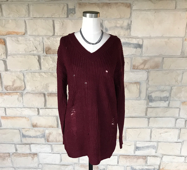 Destroyed Cable Knit Sweater Wine