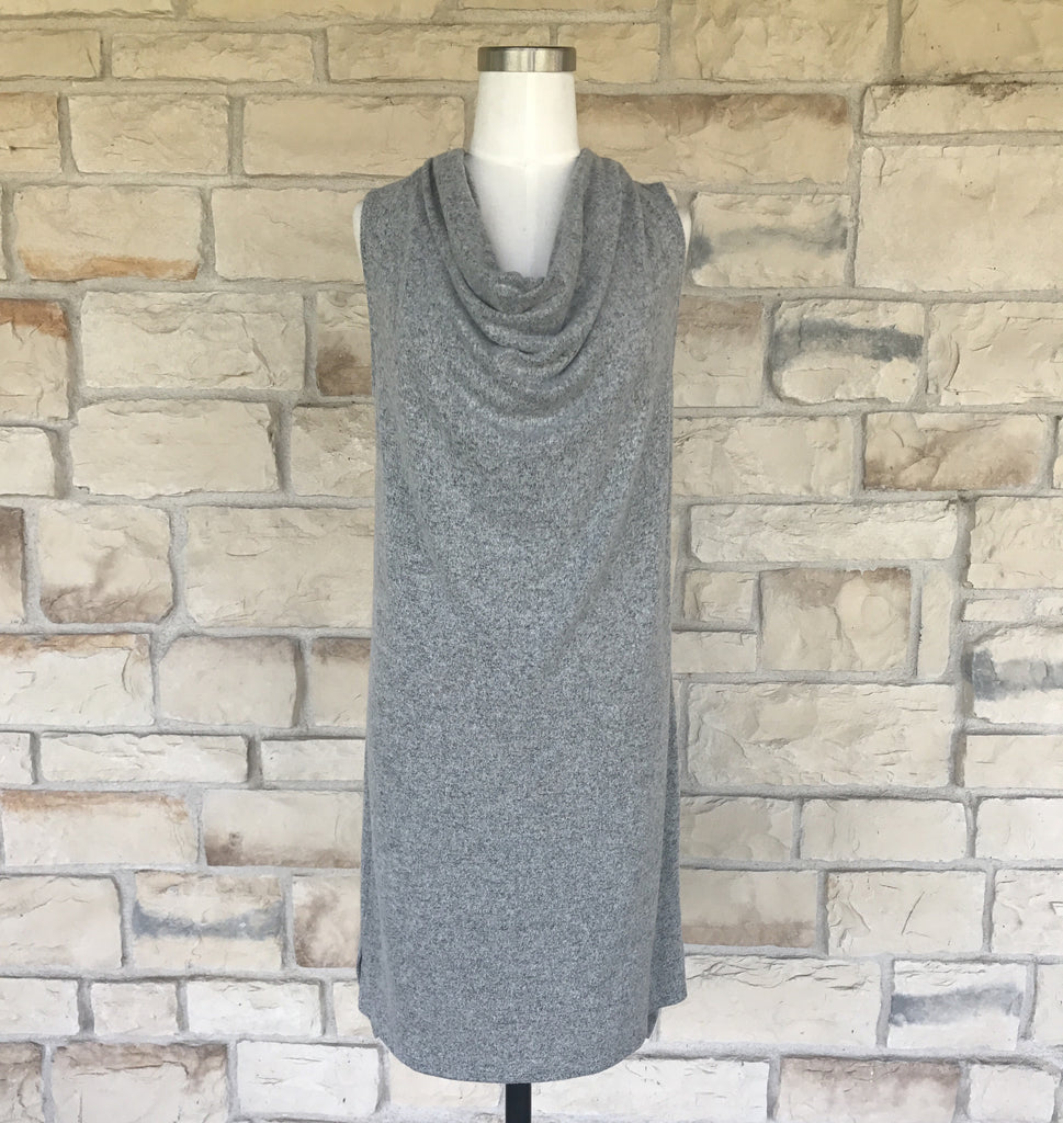 Grey Cowl Neck Dress