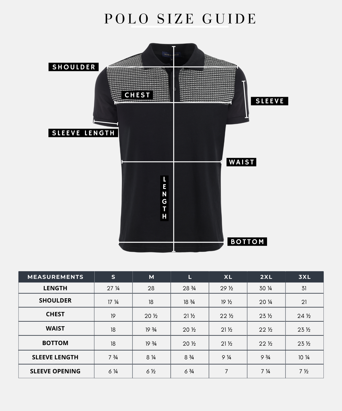 Marina Imports- Mario Rossi, Men's Polo Shirts Size Guide