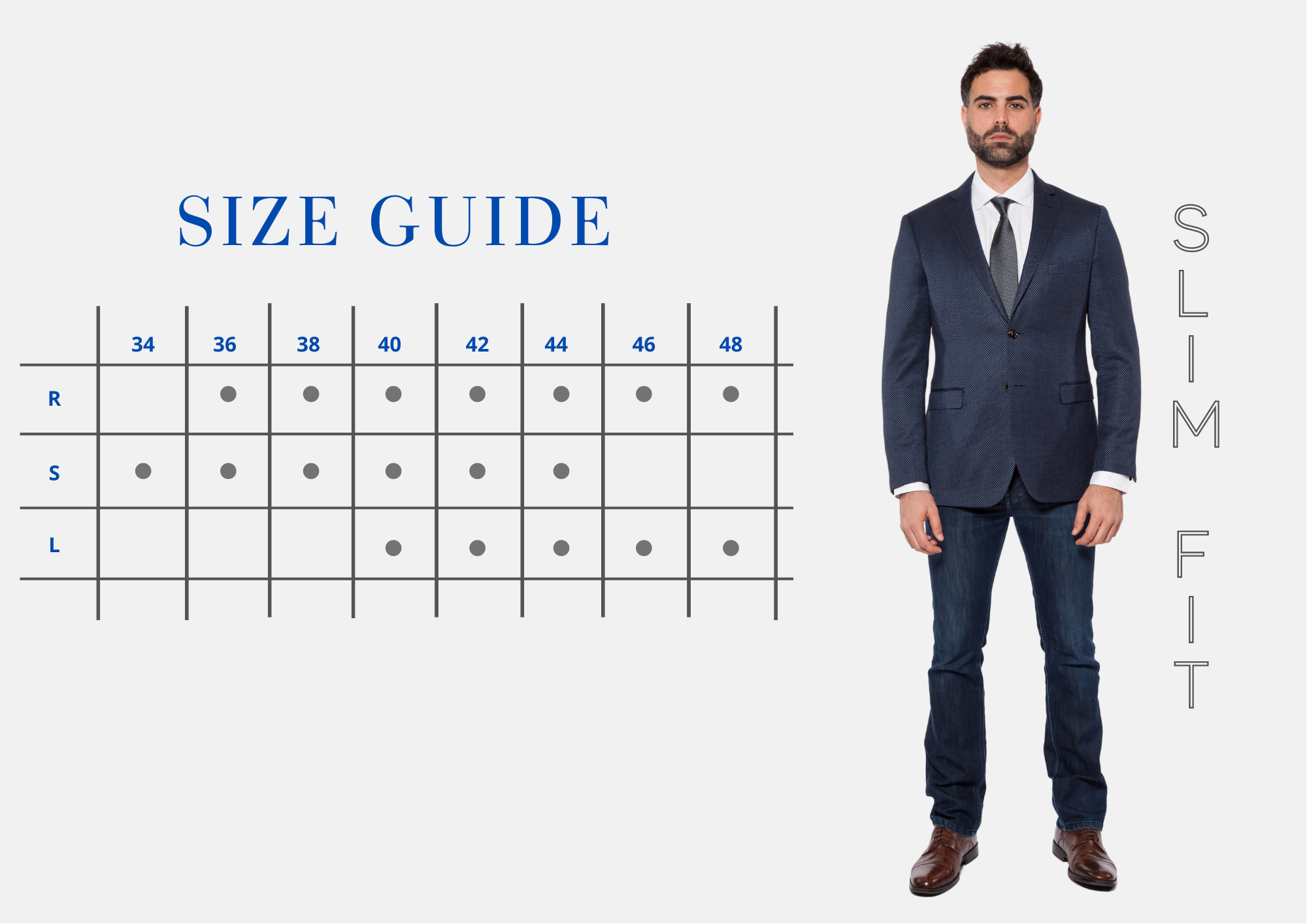 Marina Imports- Size Guide, Slim Fit