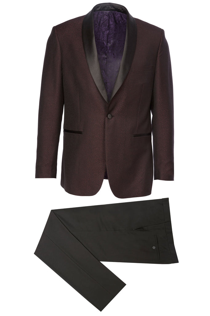 16092 Eleganza Platinum Shawl Lapel Shiny Burgundy Tuxedo w/ black pants