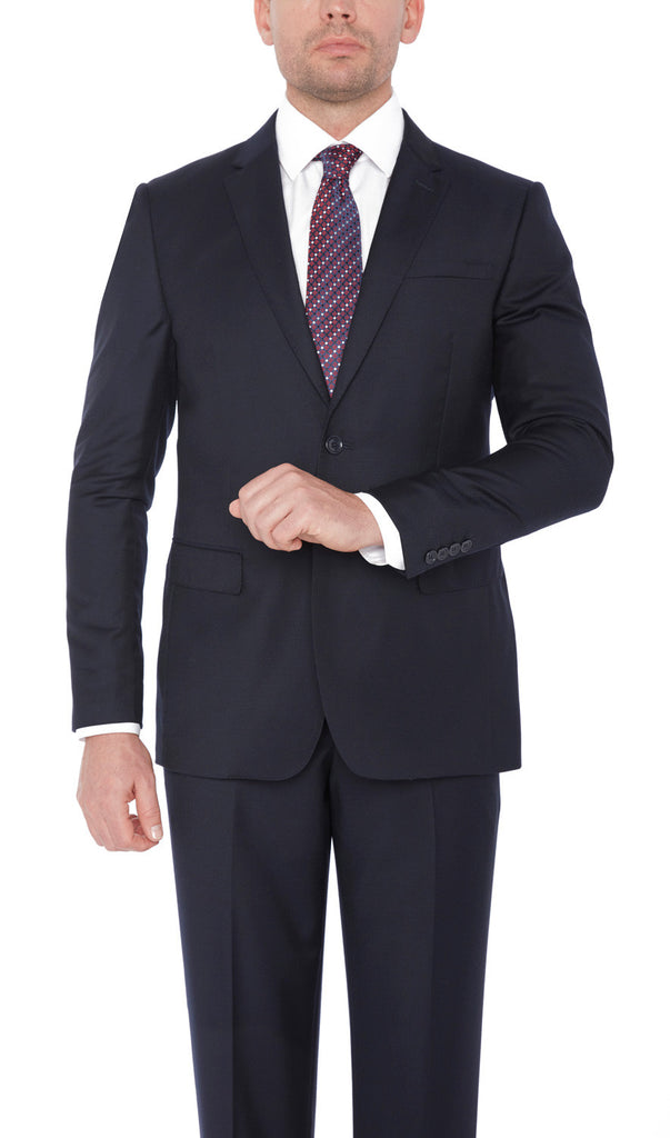 21201 Navy Giorgio Sanetti 100% Wool Modern Fit Suits