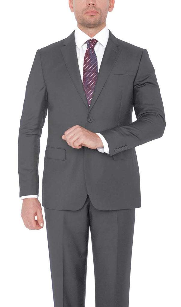21201 Grey Giorgio Sanetti 100% Wool Modern Fit Suits