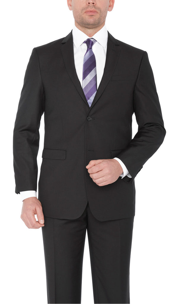 2133 Black Fellini Uomo Solid Slim Fit Suits