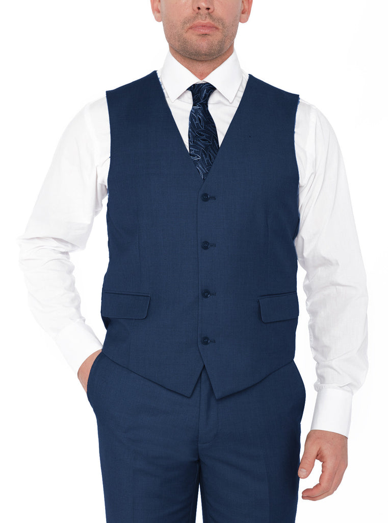 4030 Navy Gianni Uomo Solid Slim Fit Vested Suits