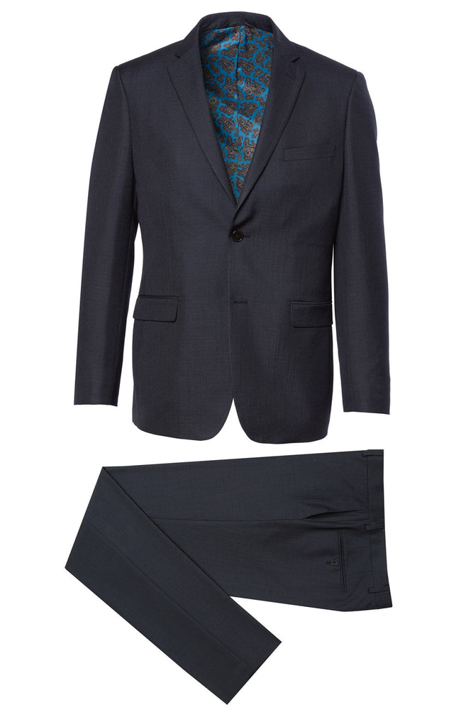 600 Blue Eleganza Red Solid Blue Textured Suit w/ fancy lining