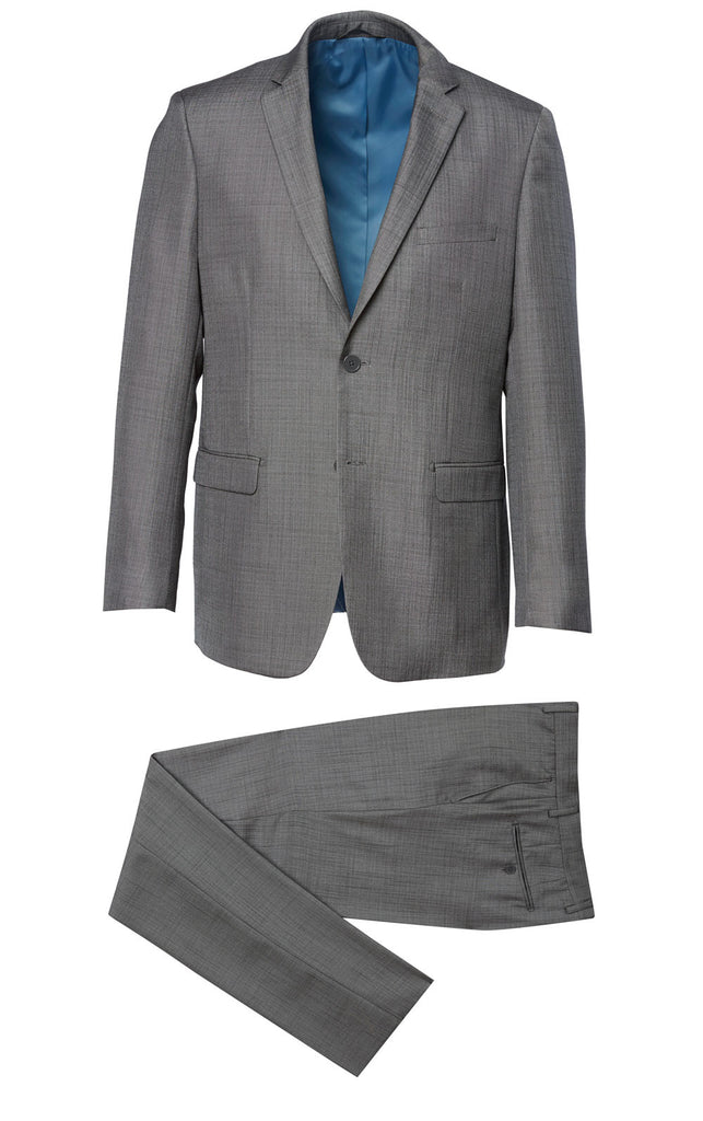 600 Charcoal Eleganza Red Charcoal Textured Suit w/ fancy lining