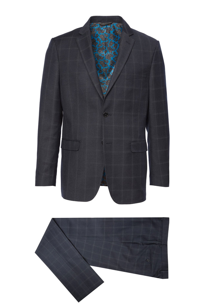 912 Eleganza Red Navy Plaid Suit w/ fancy lining