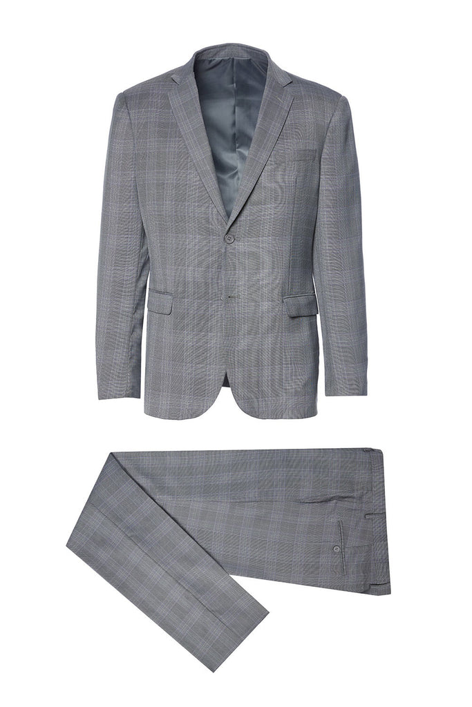 AQ10358-3 Mario Rossi 100% Polyester Light Grey Plaid Suit w/ grey lining