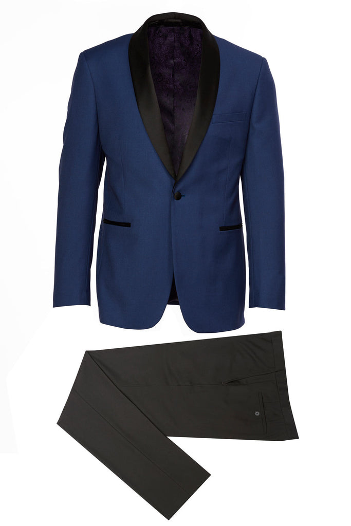Shawl-A Eleganza Platinum Shawl Lapel Blue Tuxedo w/ black pants