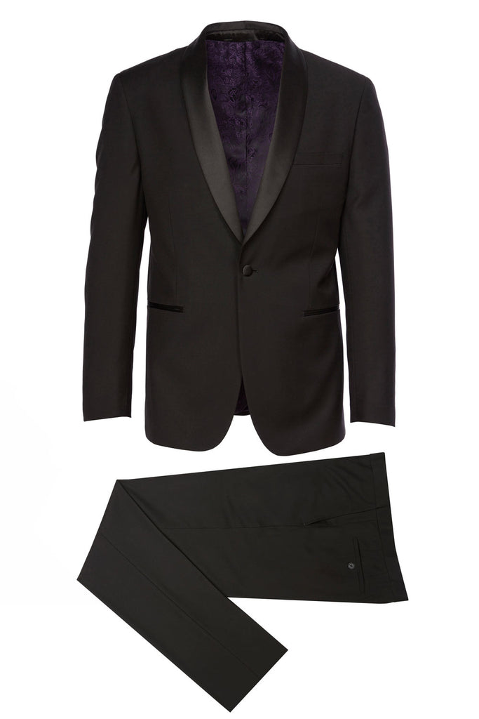 Shawl-C Eleganza Platinum Shawl Lapel Black Tuxedo w/ black pants