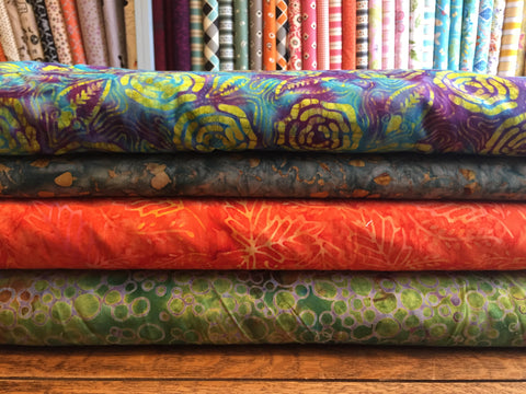 Batik - Eternal favourites for quilters.  From £8 per metre.