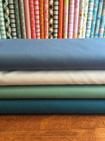 Kona Solids - £6 per metre.  Gorgeous selection of colours.