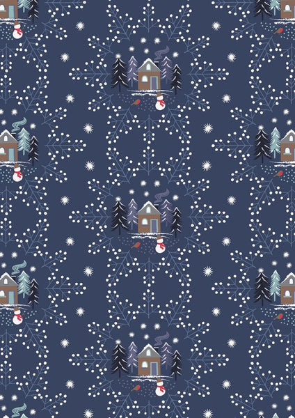 Lewis & Irene - A Countryside Winter - Midnight Blue Snowflake Scene C16.3