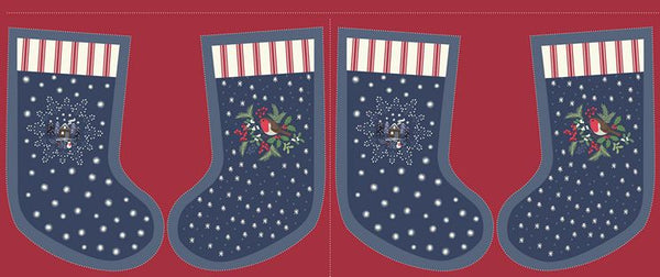 Lewis & Irene - Christmas Panel - Countryside Stockings Midnight - C21.3