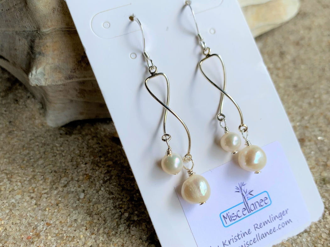 Dangle Freshwater Pearl Earrings | Sterling Silver Summer Dainty Earrings