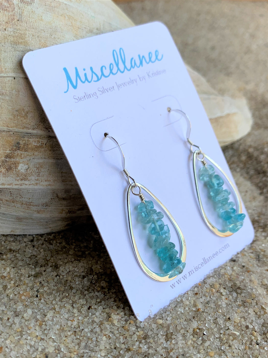 Sterling Silver Hoop Earrings with Apatite | Beach Inspired Earrings