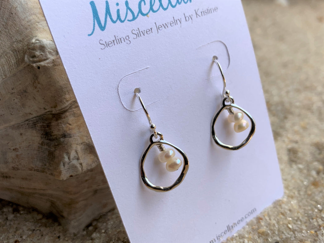 Freshwater Pearl Sterling Silver Hoop Earrings | Beach Lover Earrings