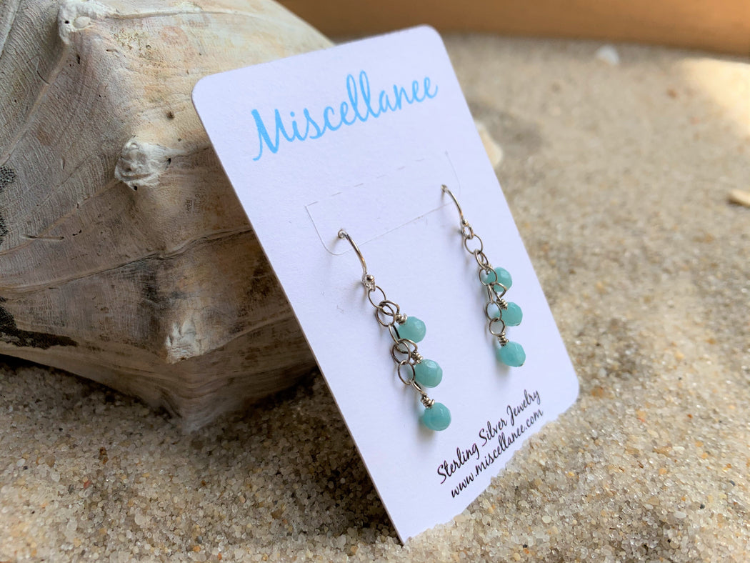 Amazonite Dangle Earrings | Sterling Silver Beach Earrings | Bridal Earrings