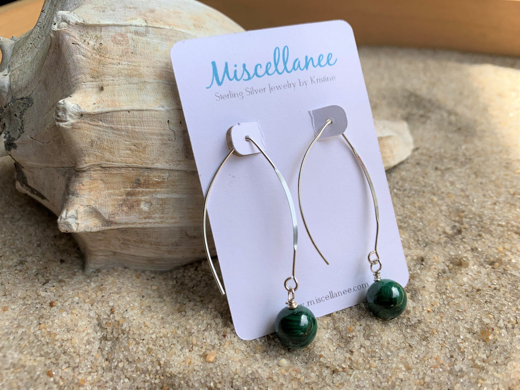 Malachite Sterling Silver Earrings | Sterling Silver Minimalist Earrings