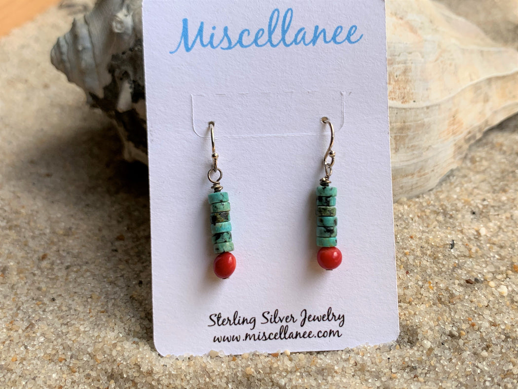 Turquoise and Coral Dangle Earrings | Beach Earrings |