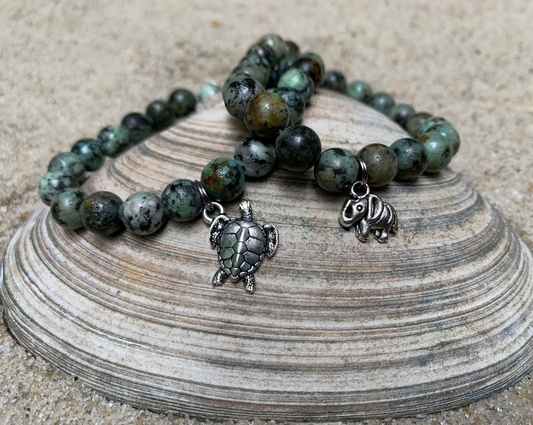 turtle and elephant stretch bracelets