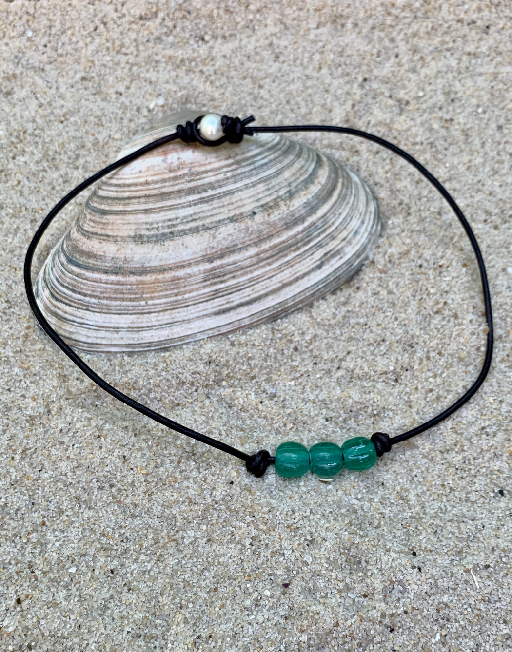Aqua Glass Leather Beach Necklace | Leather Layering Necklace