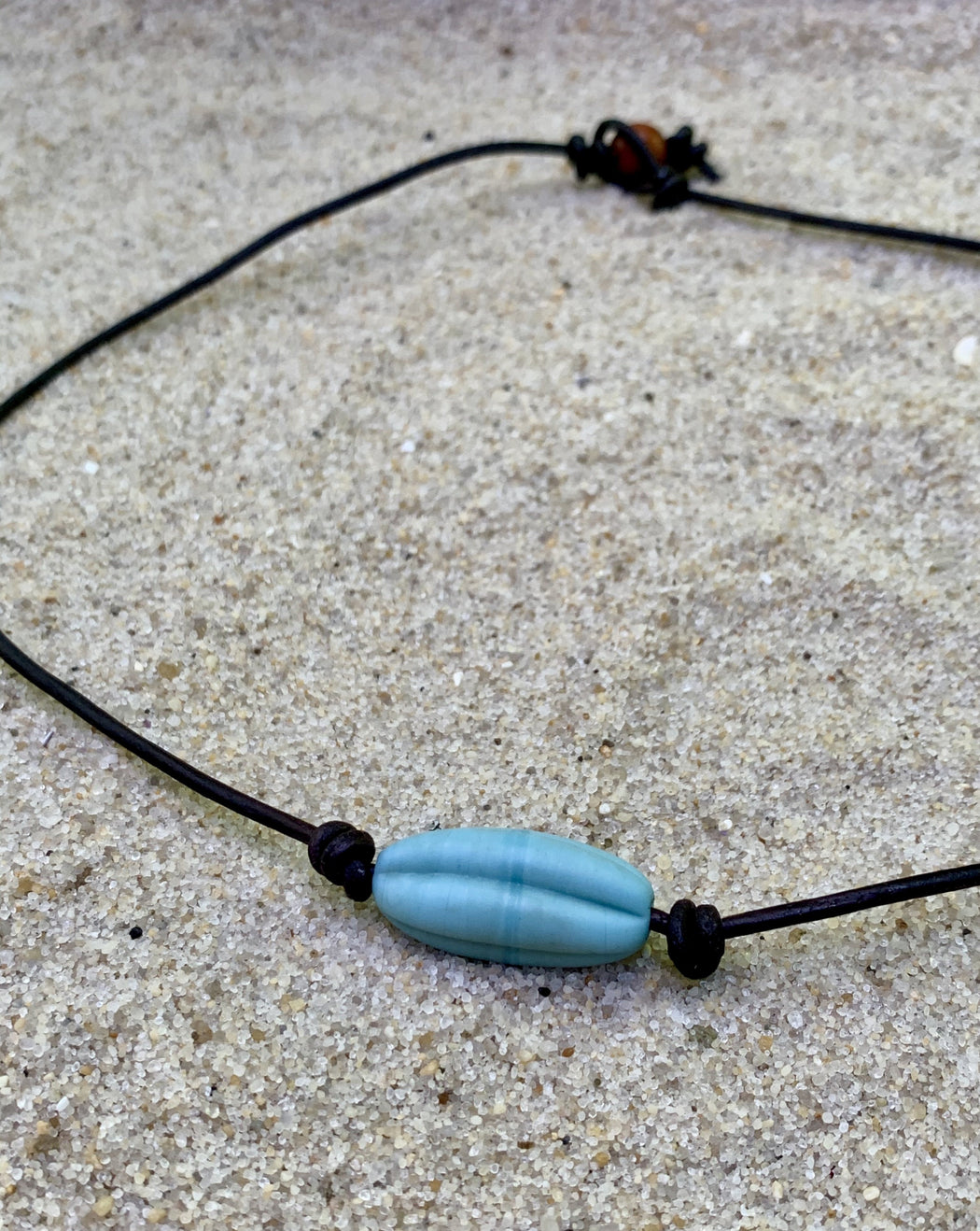 mens necklace surfer necklace  leather choker with sea glass recycled