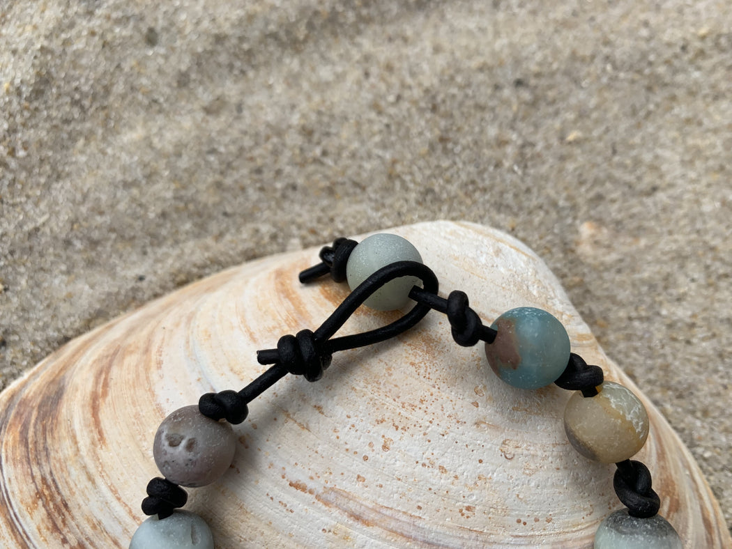 Amazonite Knotted Leather Bracelet | Beachy Boho Bracelet