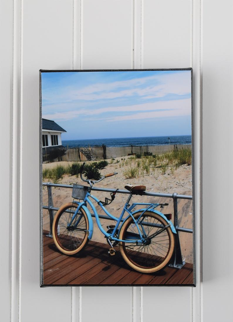 Blue Beach Bike on Ocean Grove NJ Boardwalk Canvas Photo | Beach Decor