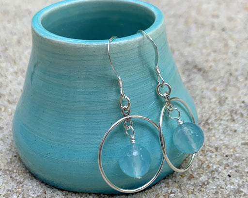 chalcedony sterling silver hoop earrings