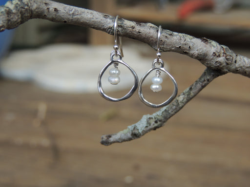Sterling Silver Hoop Earrings with Freshwater Pearls | Beach Wedding Earrings