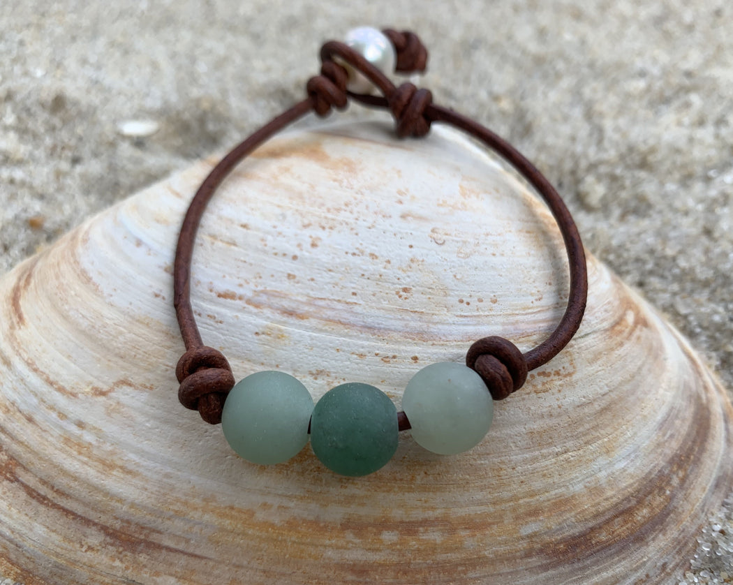 green aventurine leather bracelet