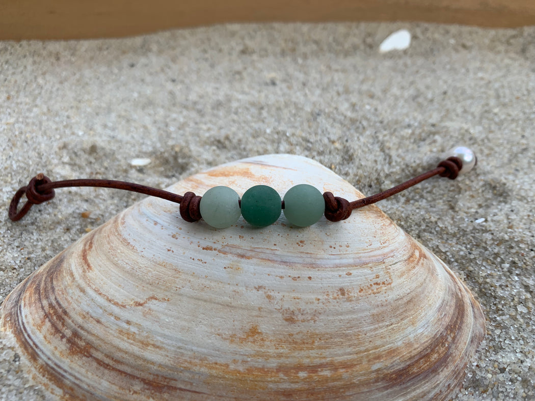 Green Aventurine Leather Bracelet | Beach Bracelet | Beach Lovers Gift