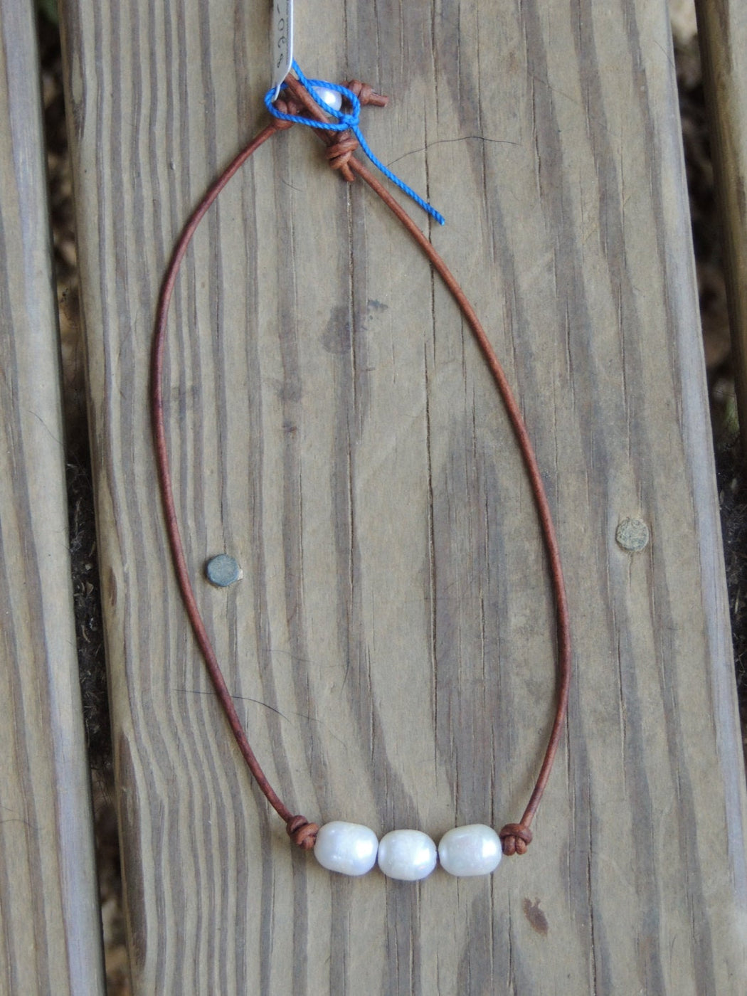 Freshwater Pearls and Leather Necklace | Beach Necklace