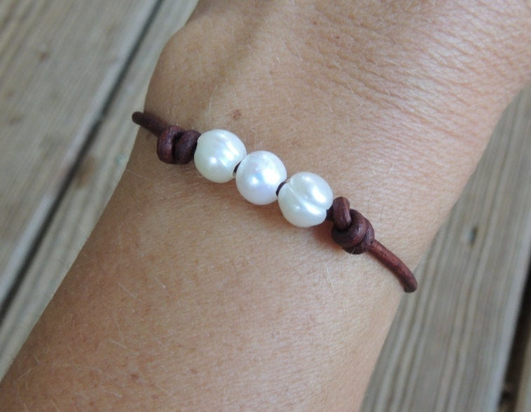 Freshwater Pearl Leather Bracelet | Beach Bracelet | Summer Bracelet