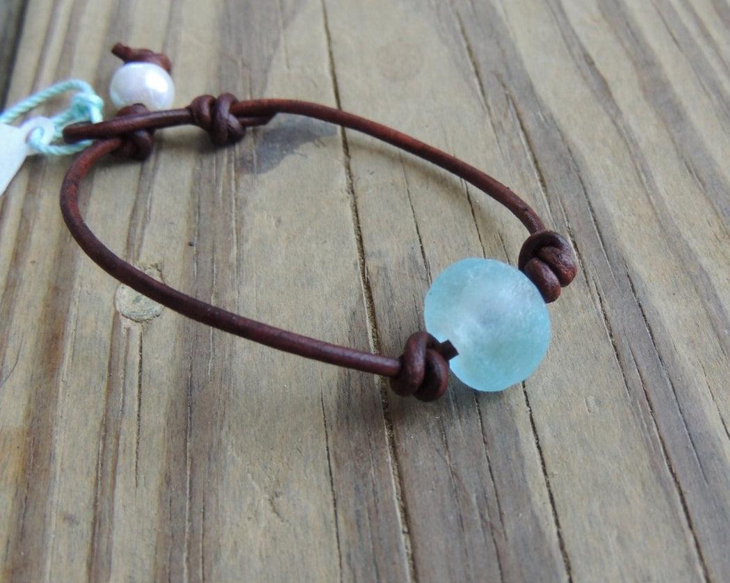 African glass leather bracelet
